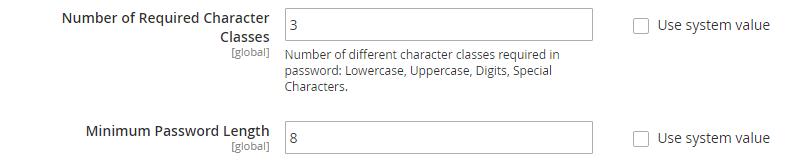 Strong admin passwords